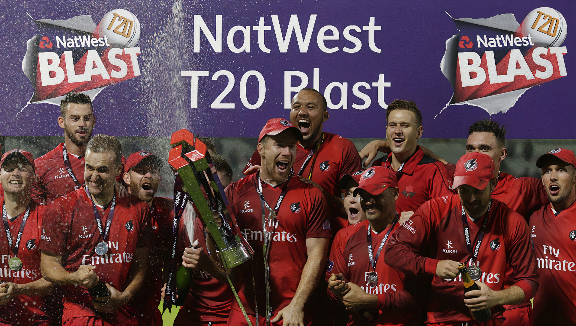 You can place bets on England NatWest T20 Blast League after registering on the site
