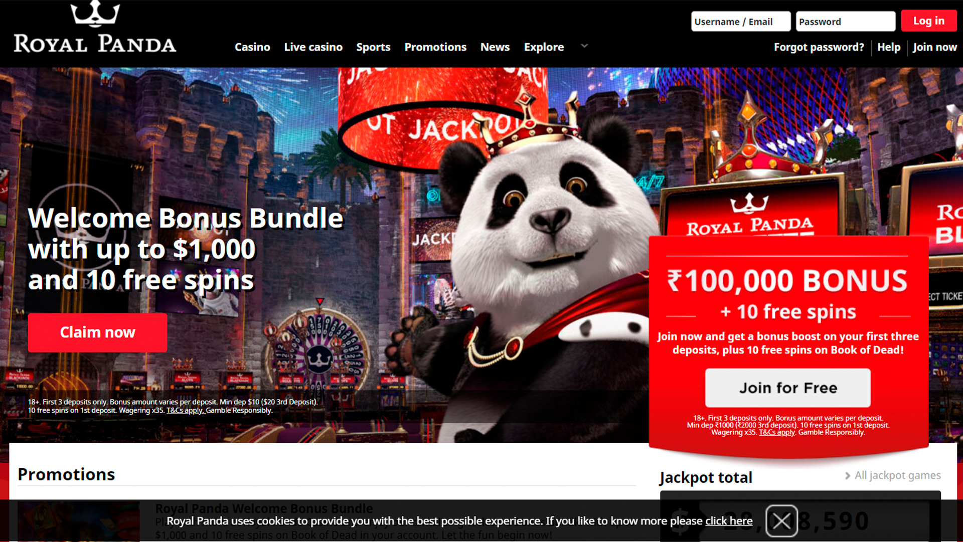 You will see a colorful home page of Royal Panda betting platform.