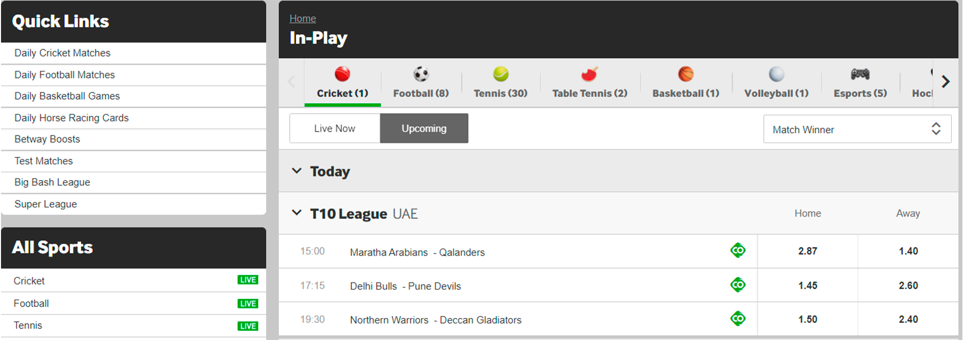 Look through the sportsbook at the official site.