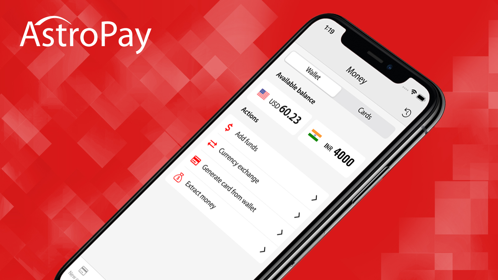 Download the Astropay mobile app, install it and make payments whenever you need to.