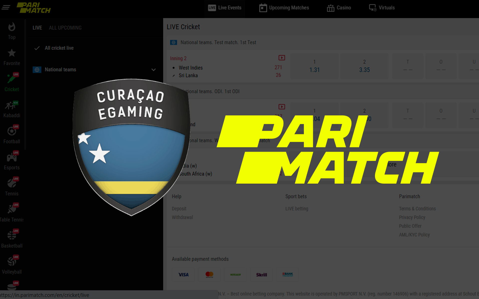 All your data and money are under protection of certified betting website Parimatch.