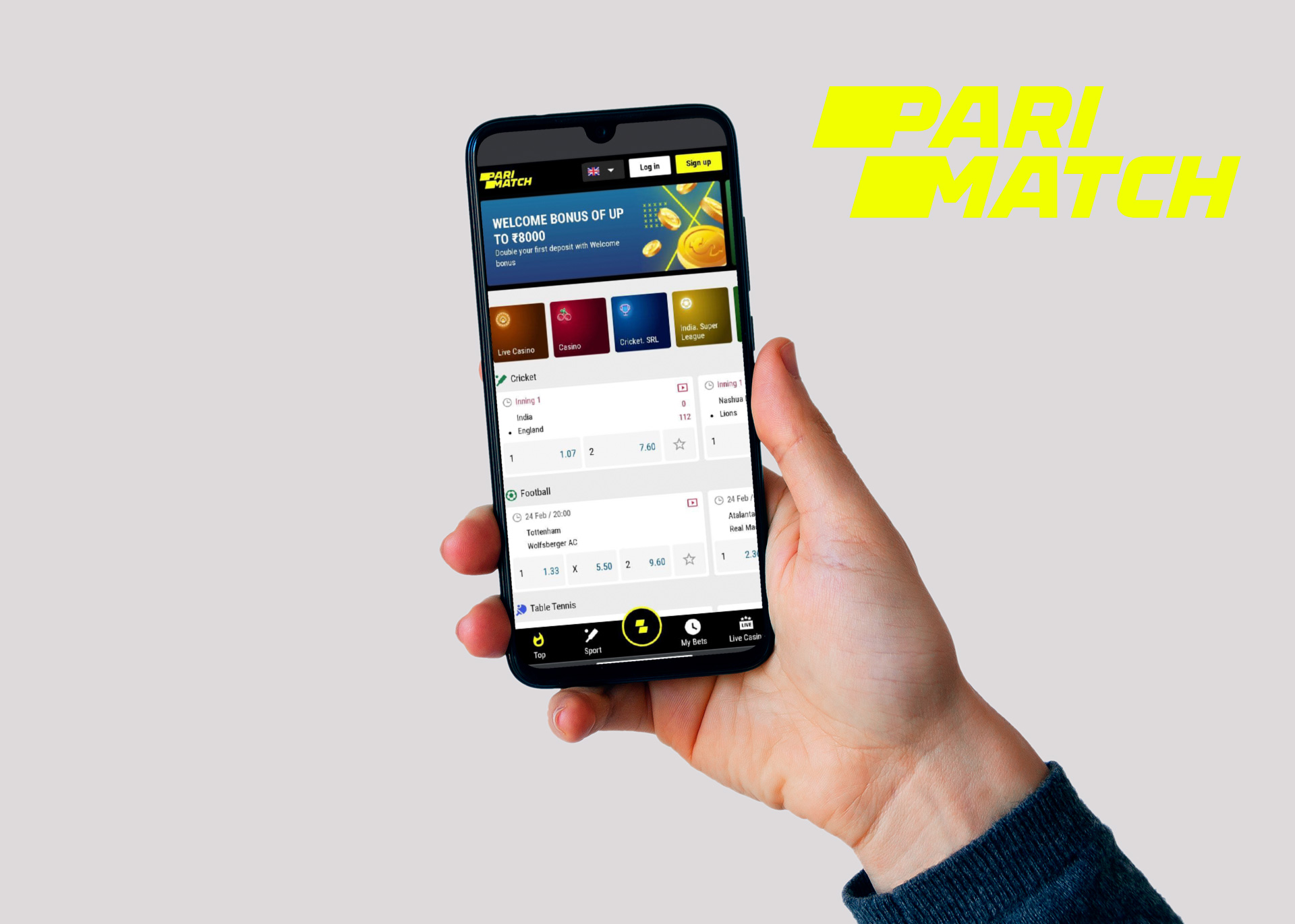 Sign up for Parimatch, download the a[[ and start betting.