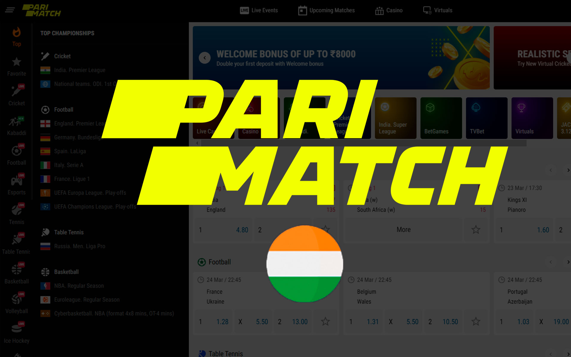 Parimatch is available for Indian players and you can easily bet on cricket there.