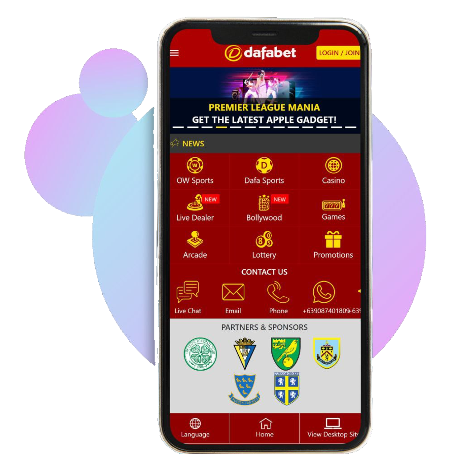 Install the Dafabet app and start cricket betting from your mobile phone.