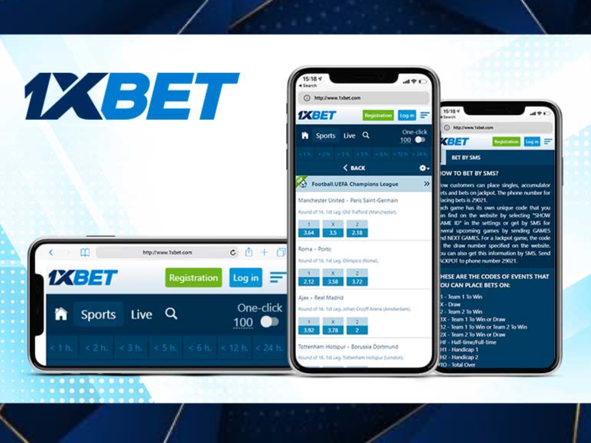 You can opern a web version of 1xbet on your mobile phone and bet via it.