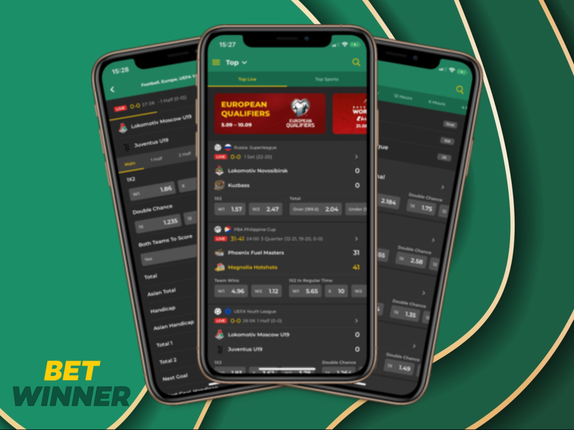 Install the Betwinner app on your Android phone to place bets easily.