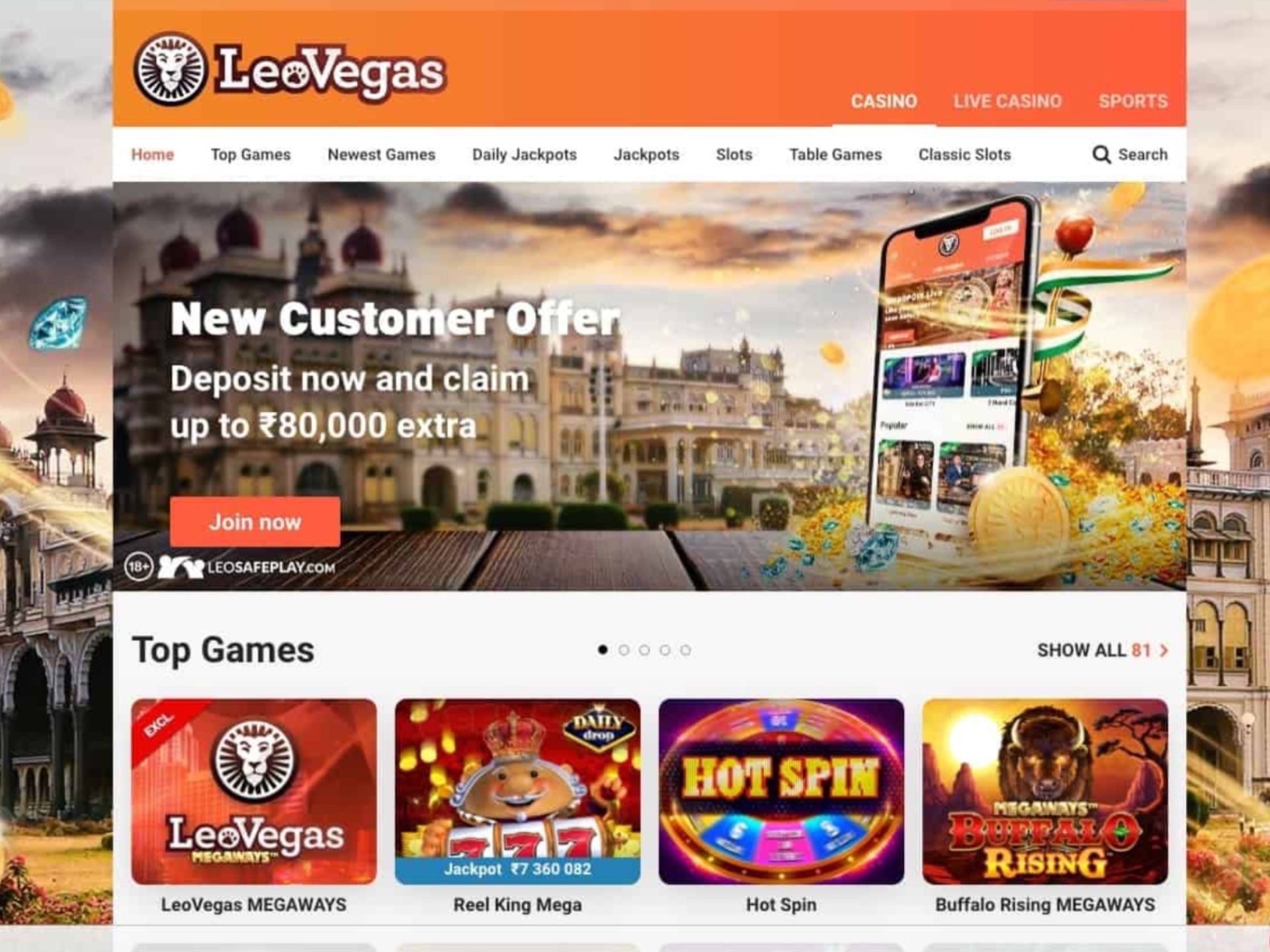 You'll get a welcome bonus after registering and depositing at LeoVegas.
