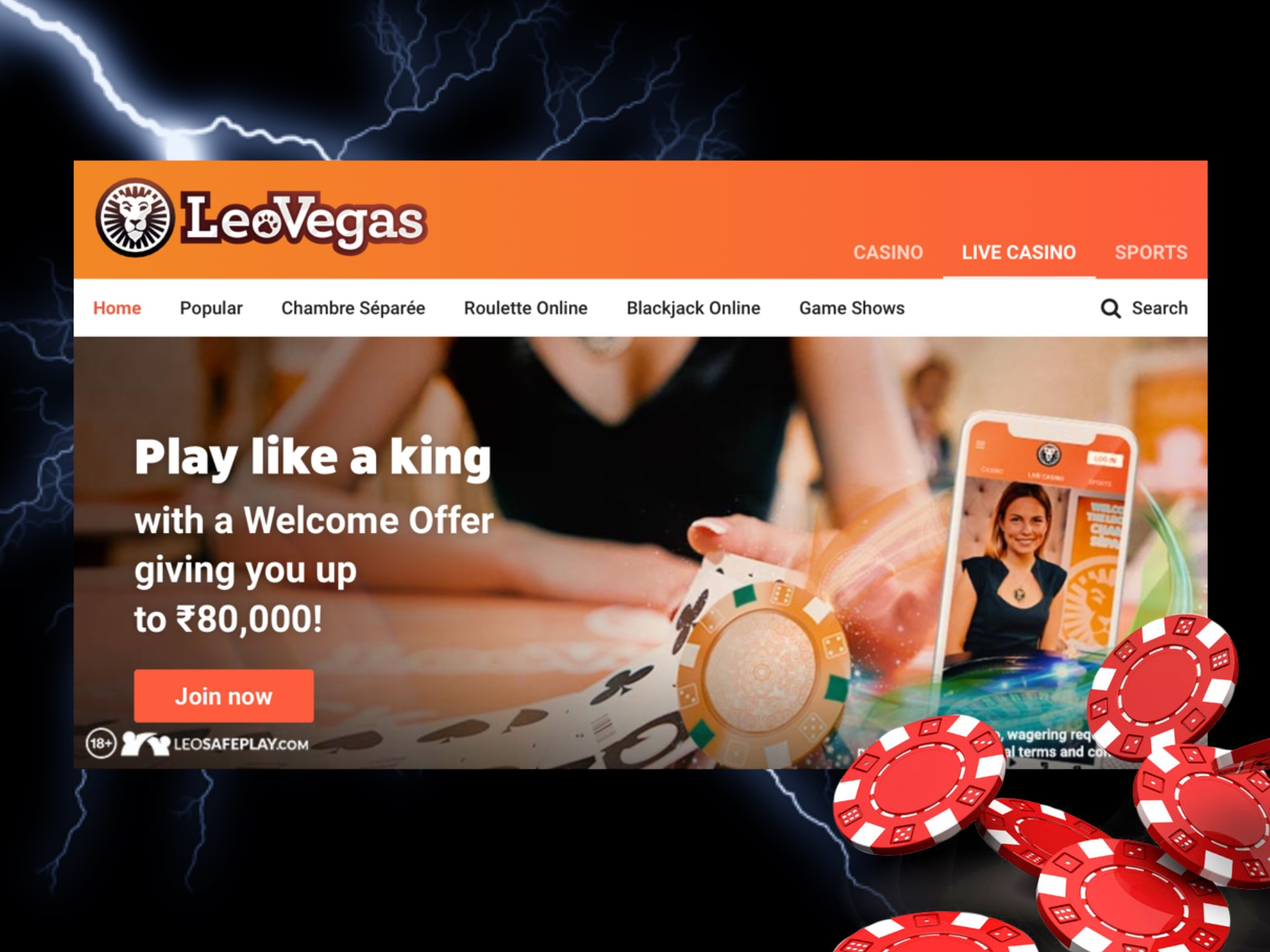 You can spend your bonus in LeoVegas live casino games.