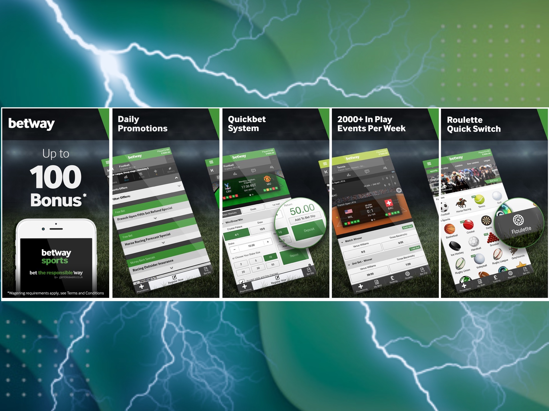 Download the Betway mobile app for betting right now.