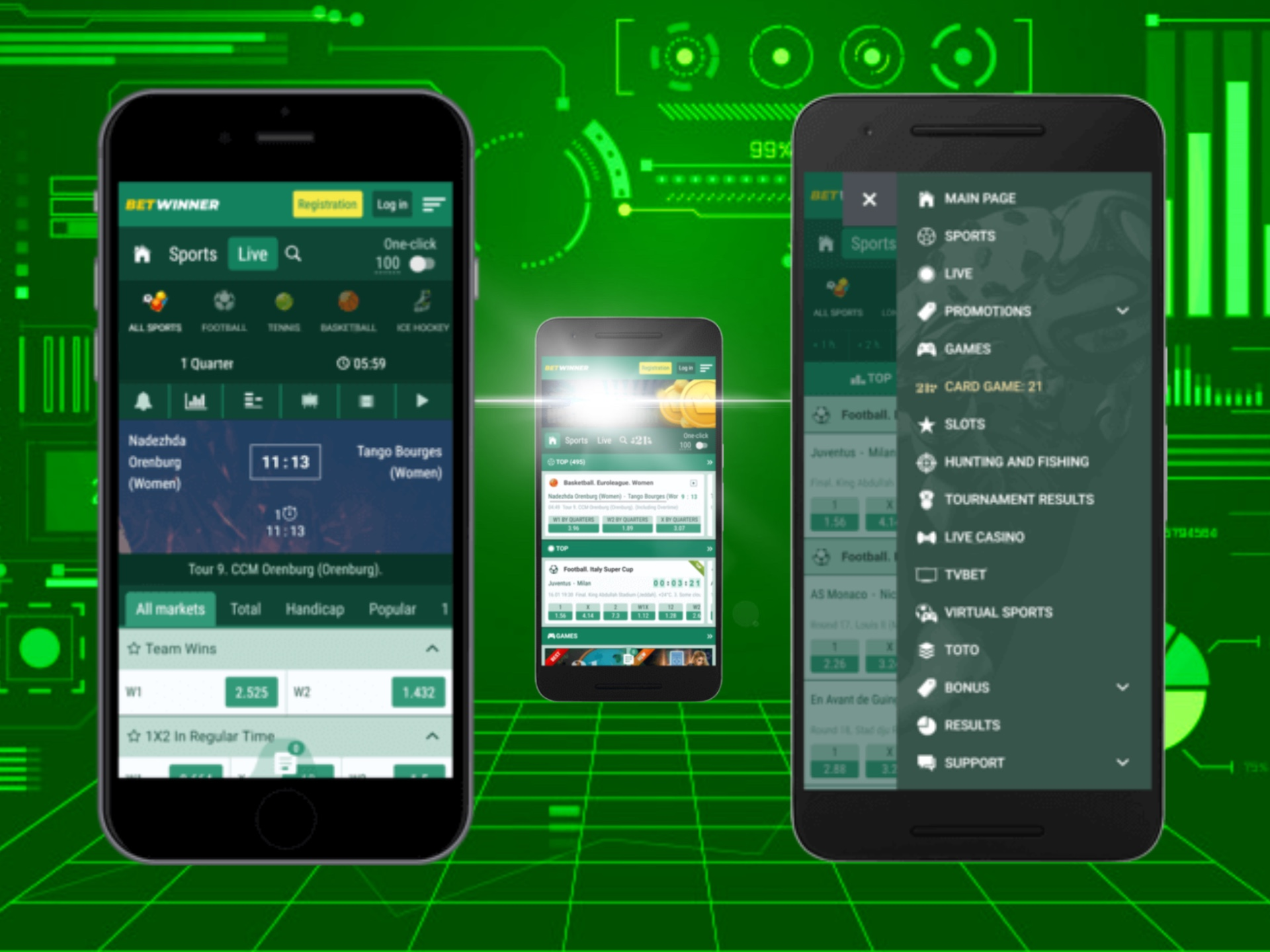 Betwinner mobile version has almost all the same features as a desktop version does.