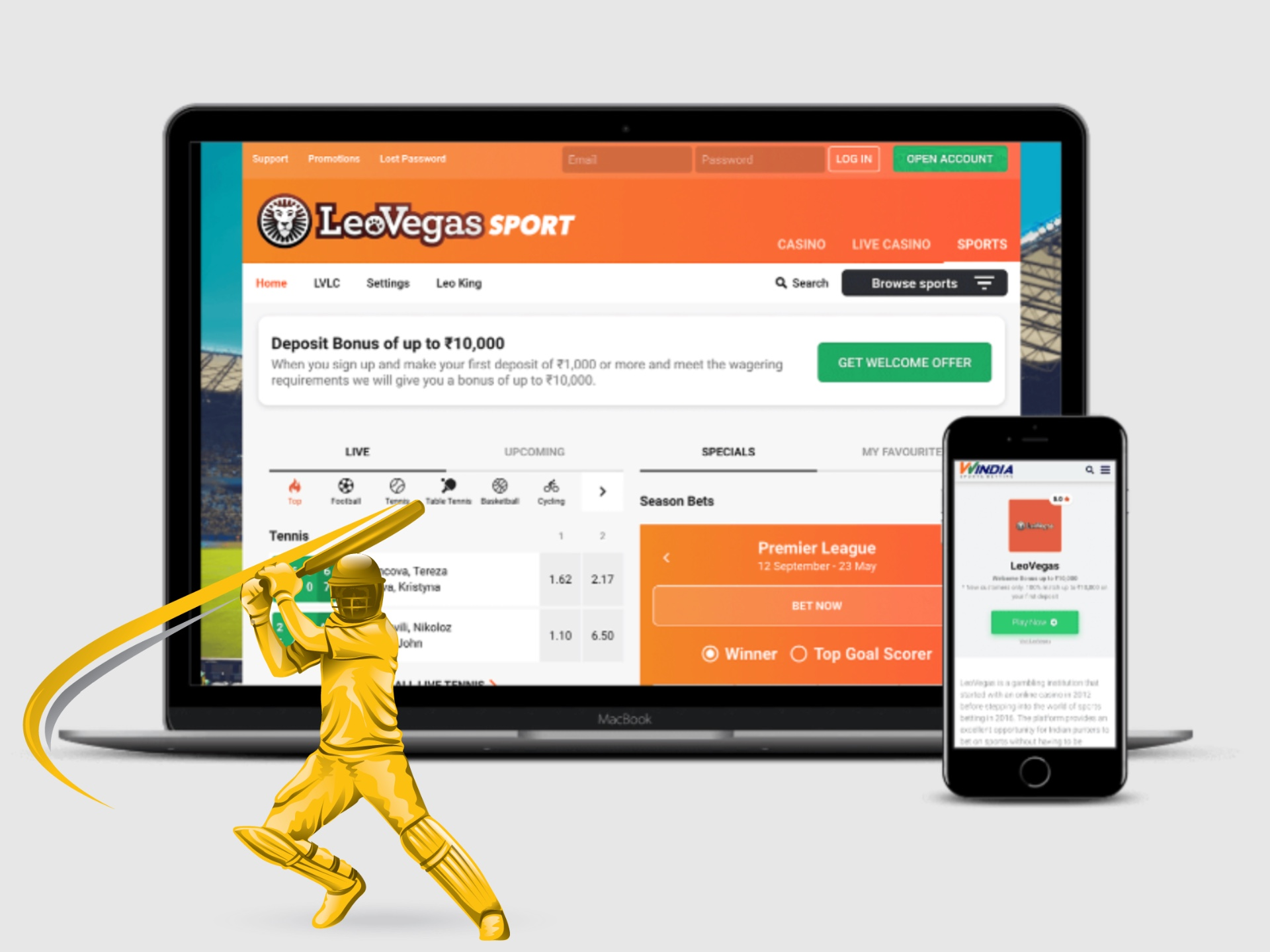 You can easily bet on cricket with LeoVegas.