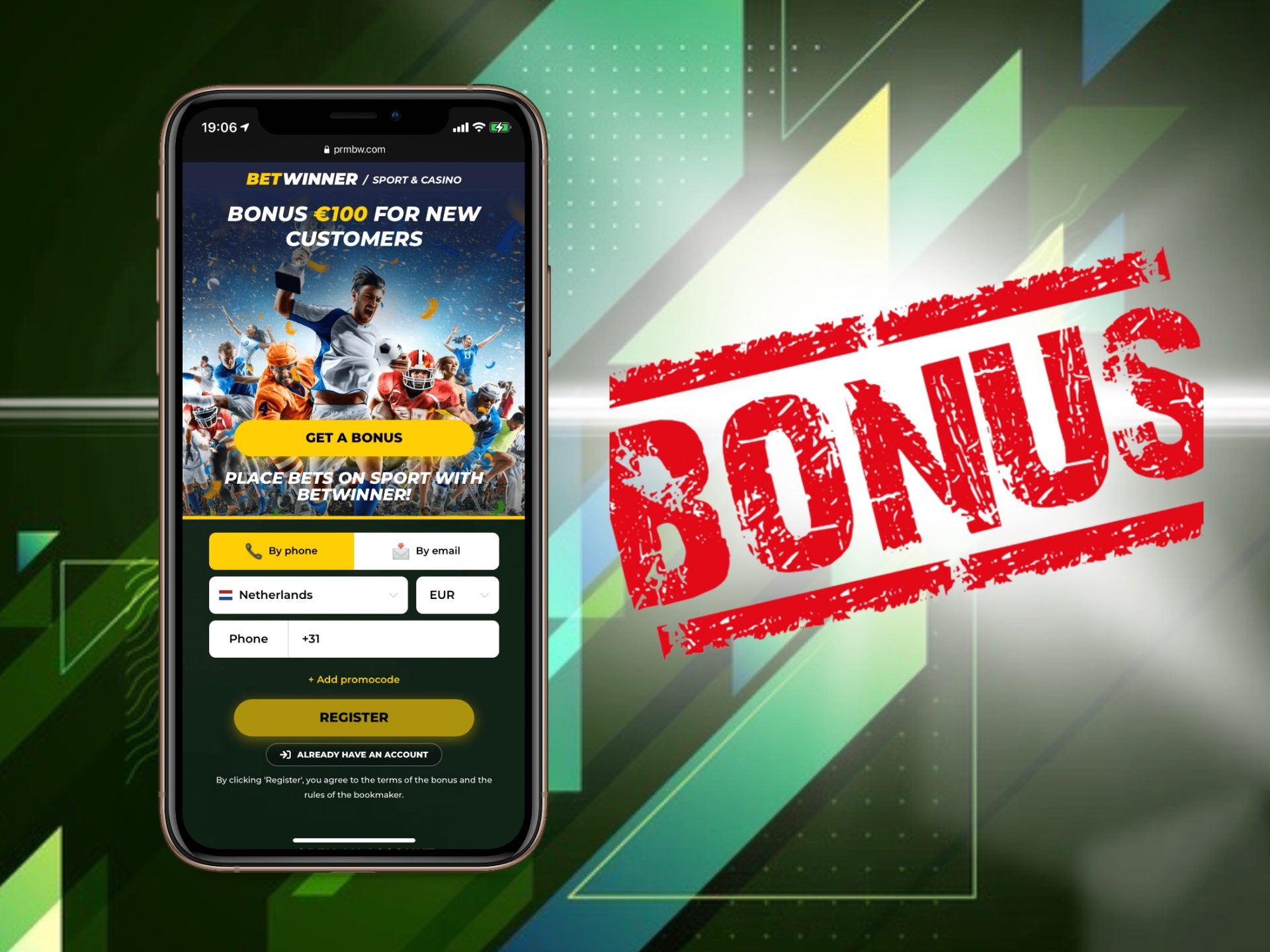 Make a deposit via your mobile phone and get your welcome bonus at Betwinner app.