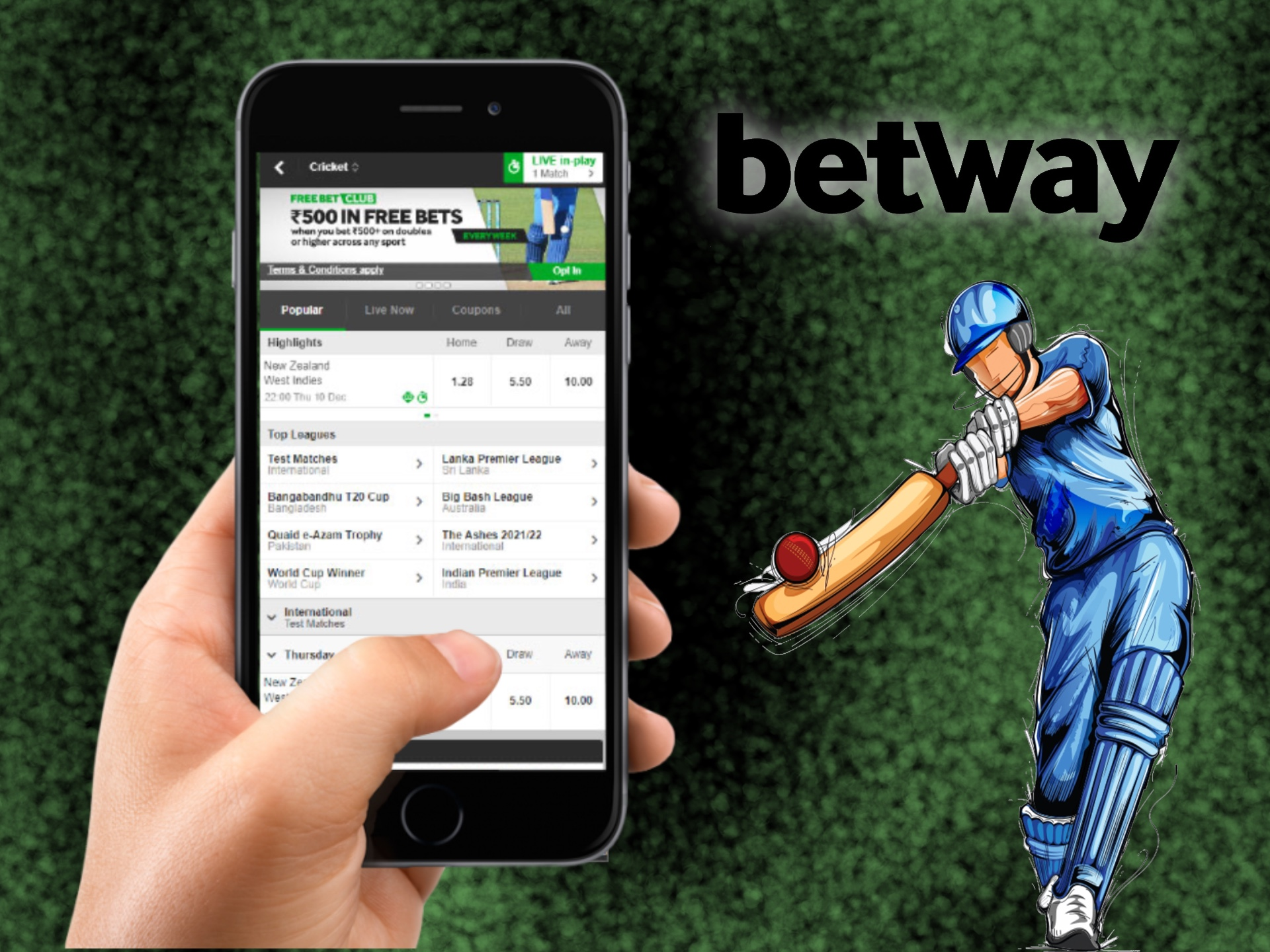 Betting on cricket is more convenient via Betway mobile app.