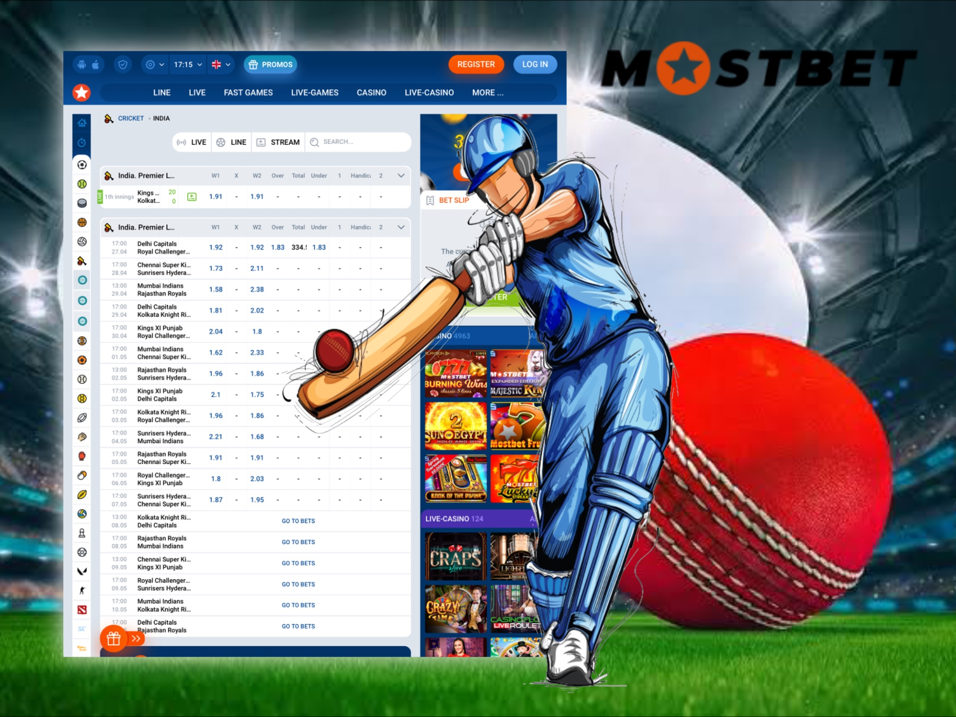 You can find profitable odds on cricket betting at Mostbet.