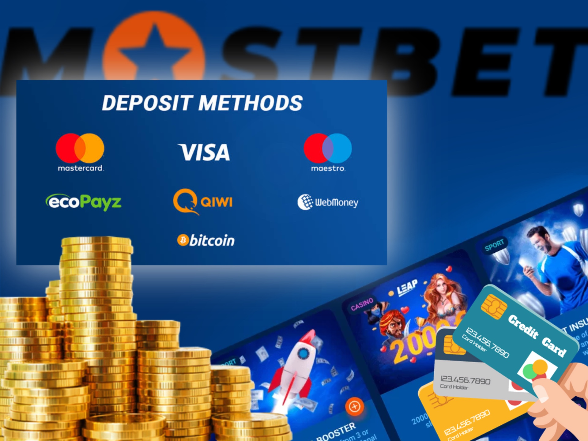 You can use ecoPayz, Paytm, Neteller or Neteller for depositing at Mostbet.