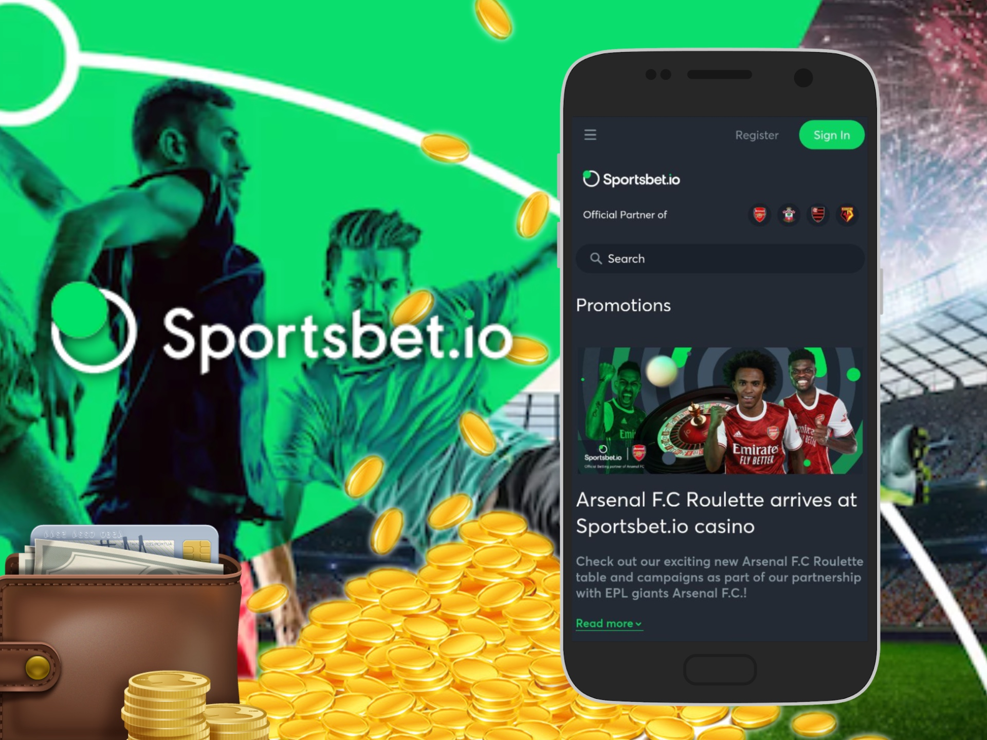 Sign up for Sportbet and get bonuses for betting via the app.
