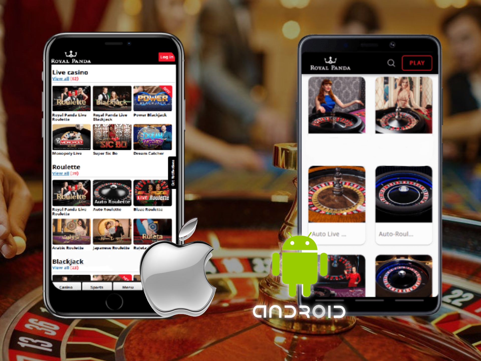 Play casino games with live dealers at Royla Panda casino.