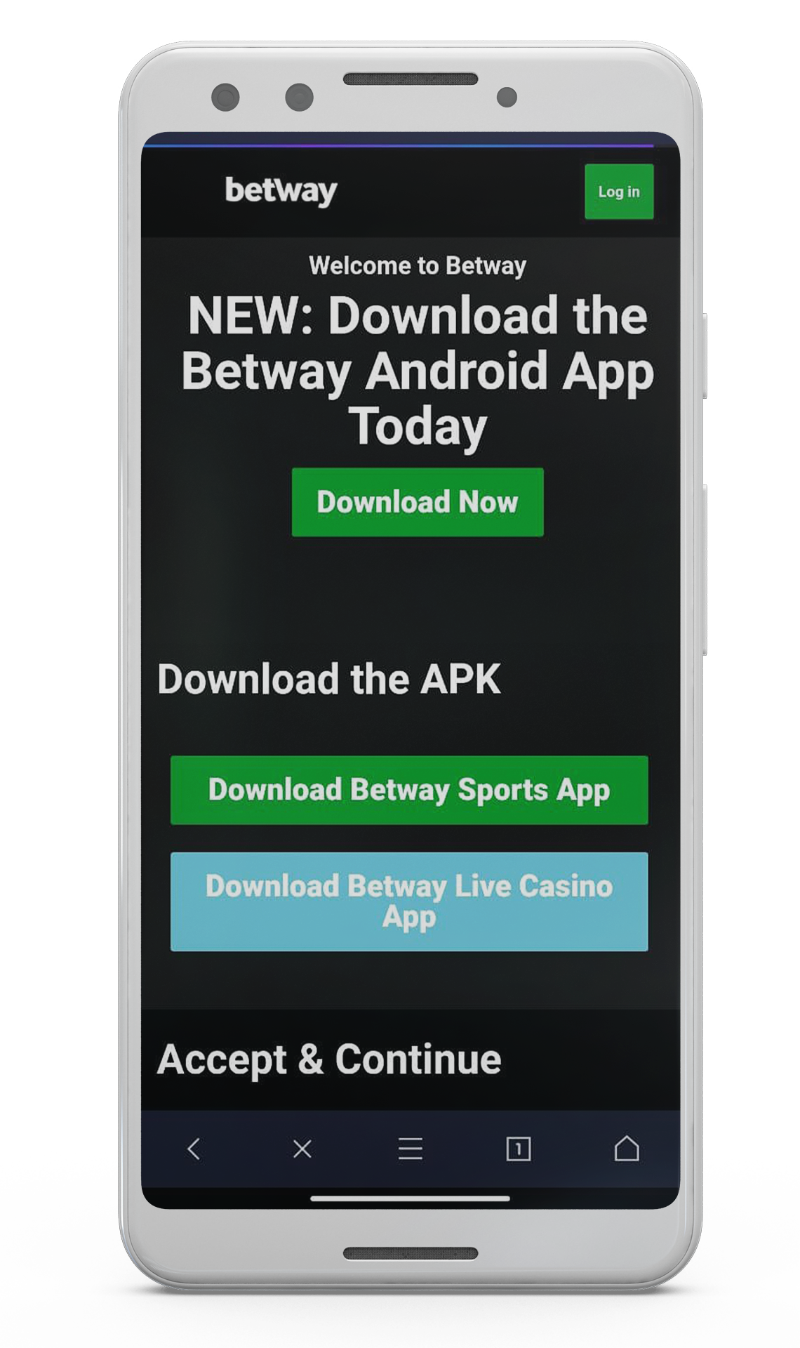 """Press """"Download now"""" to initiate downloading Betway APK file."""