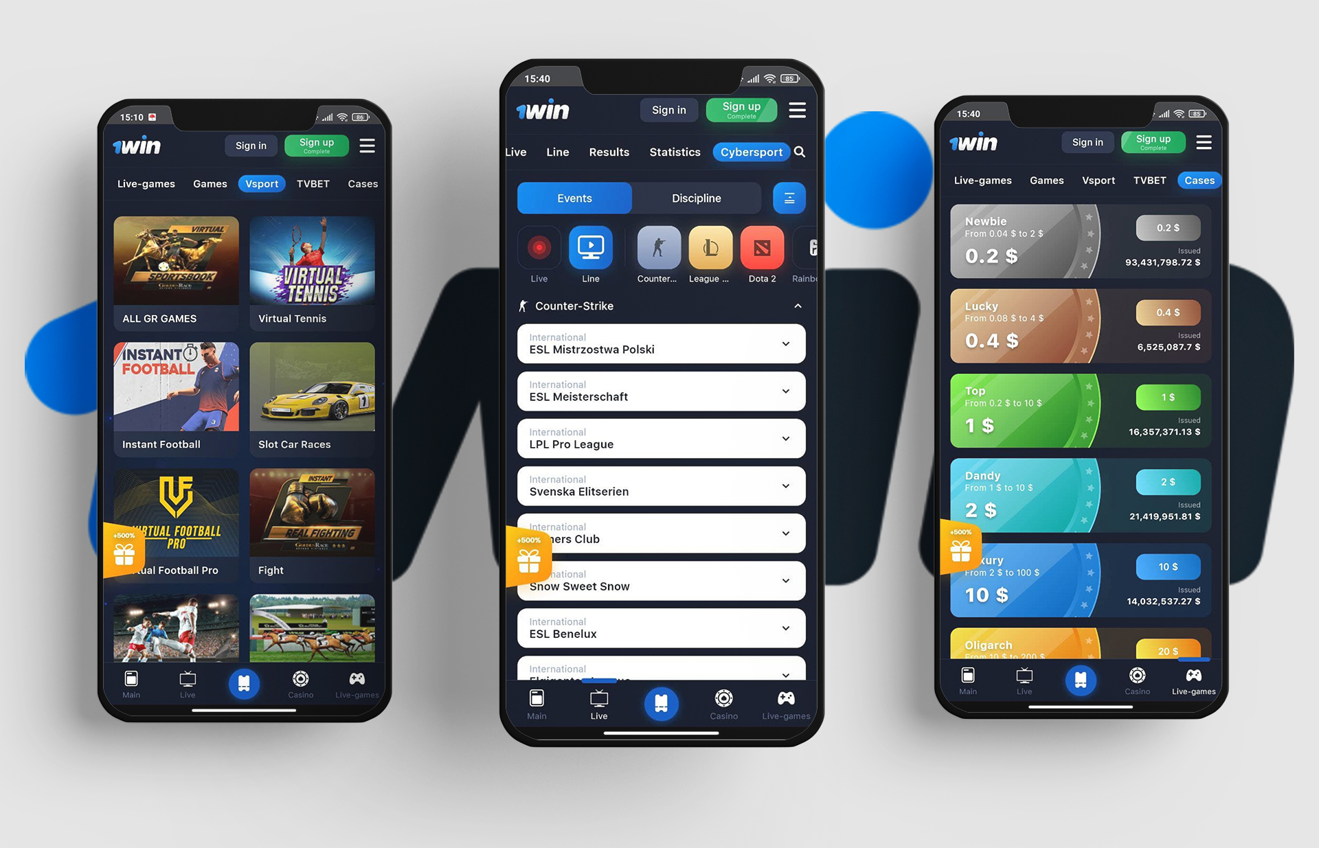 You can bet on cricket and play casino games at 1win app via your mobile phone.