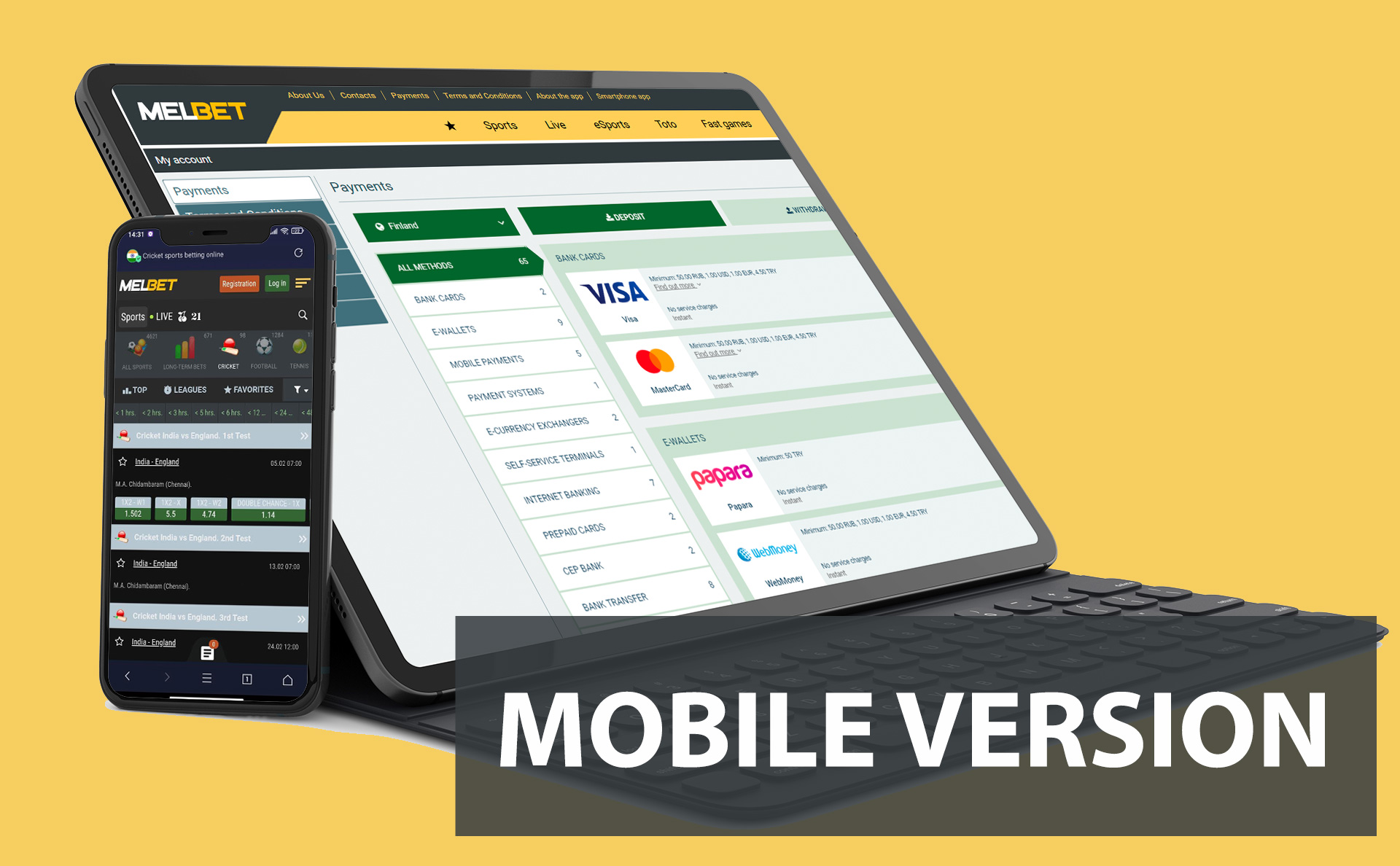 You can use a mobile verision of Melbet if you don't want to download the app.