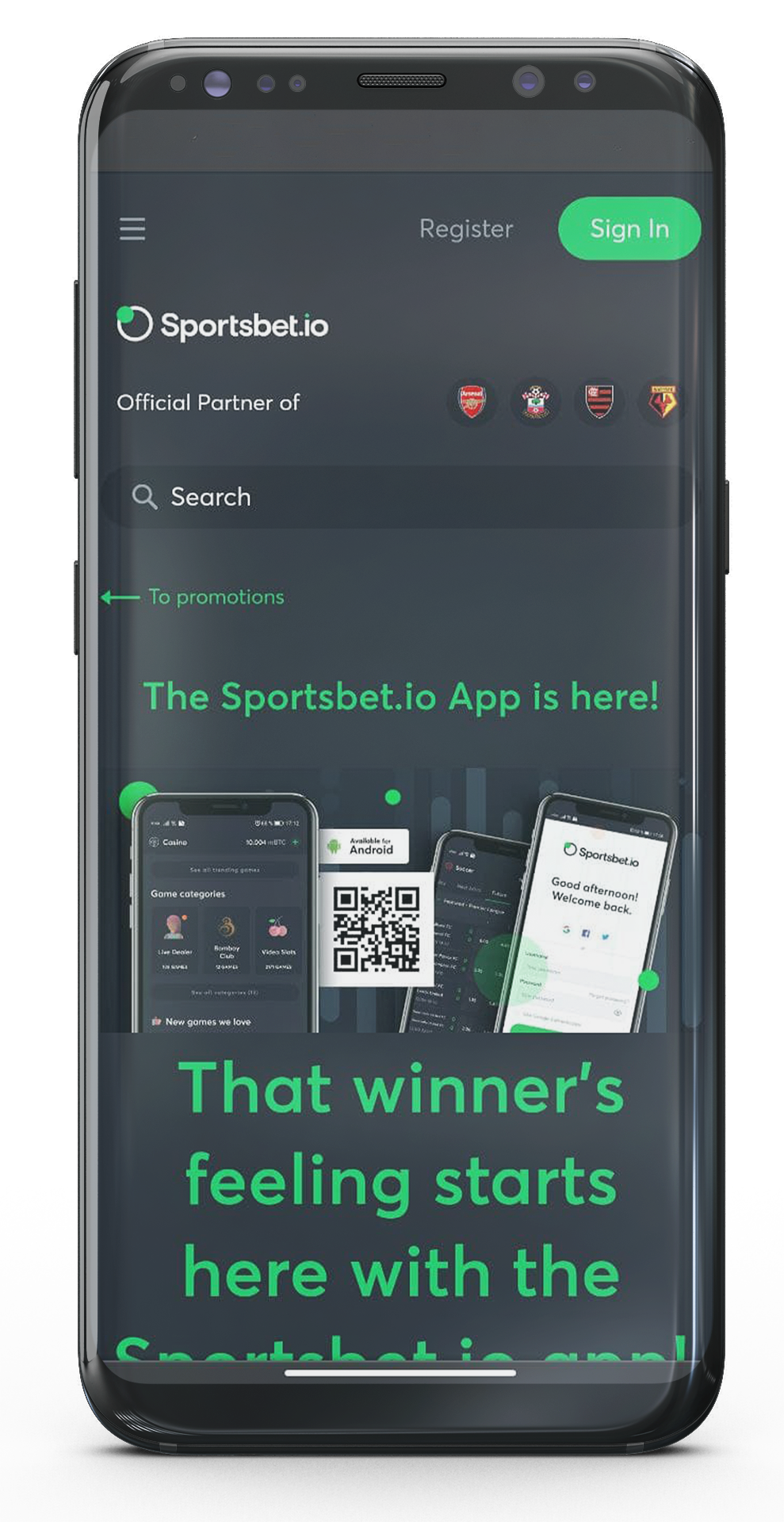 There you will see options for downloading Sportsbet.io app.
